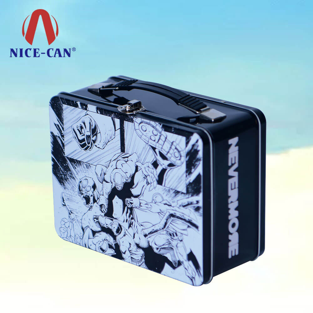 Kids tin lunch box custom printed tin lunch boxes plastic handle