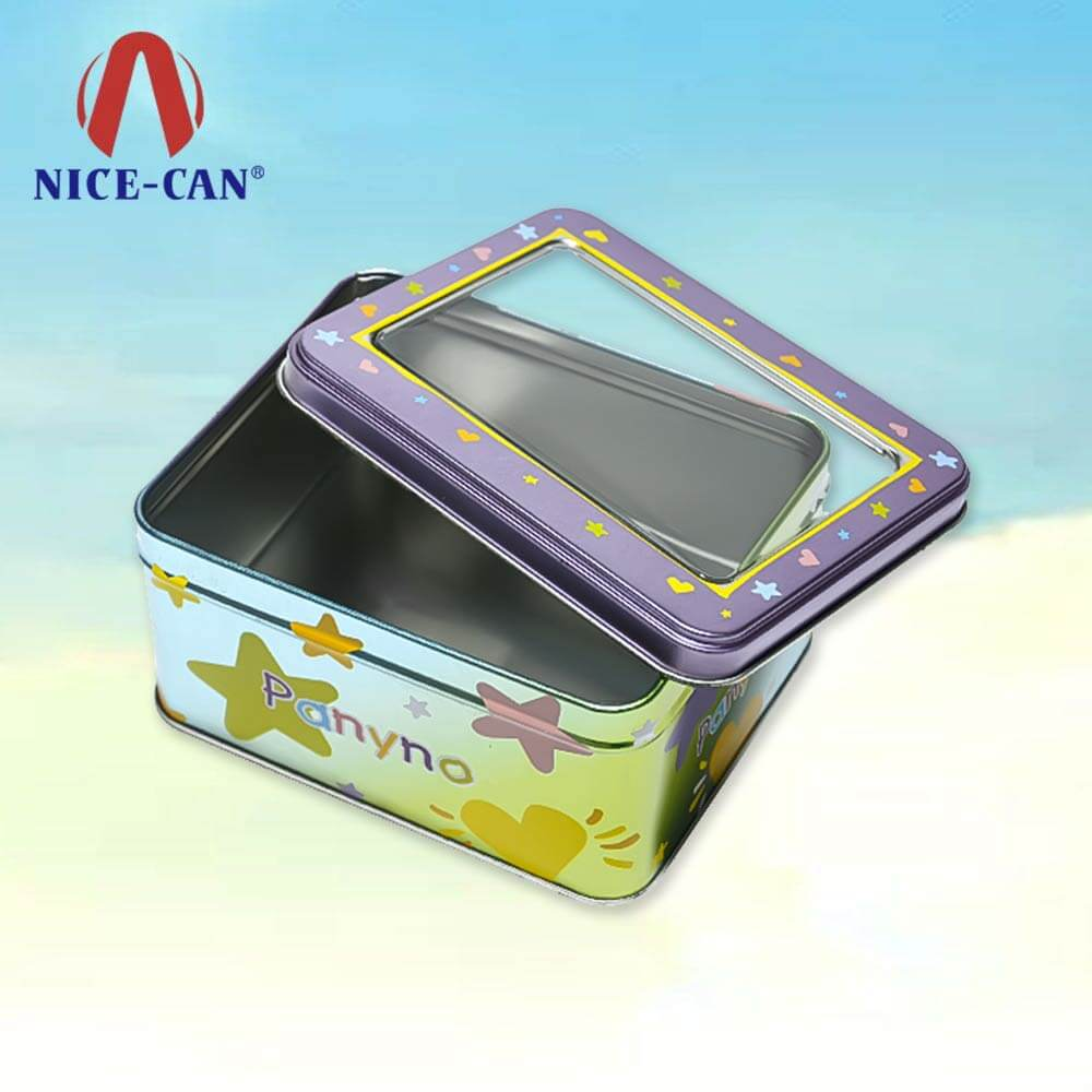 Wholesale rectangle metal storage candy tin box with clear pvc window lid