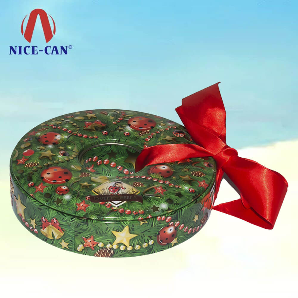 Cheap round customized Christmas tin box packaging gift tin decoration