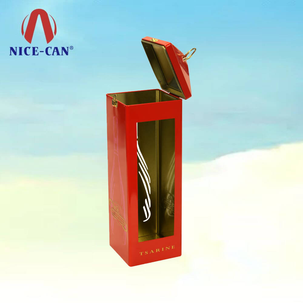 Telephone Booth Shaped Tin Boxes for Wine Bottle Packaging with Handle Ring