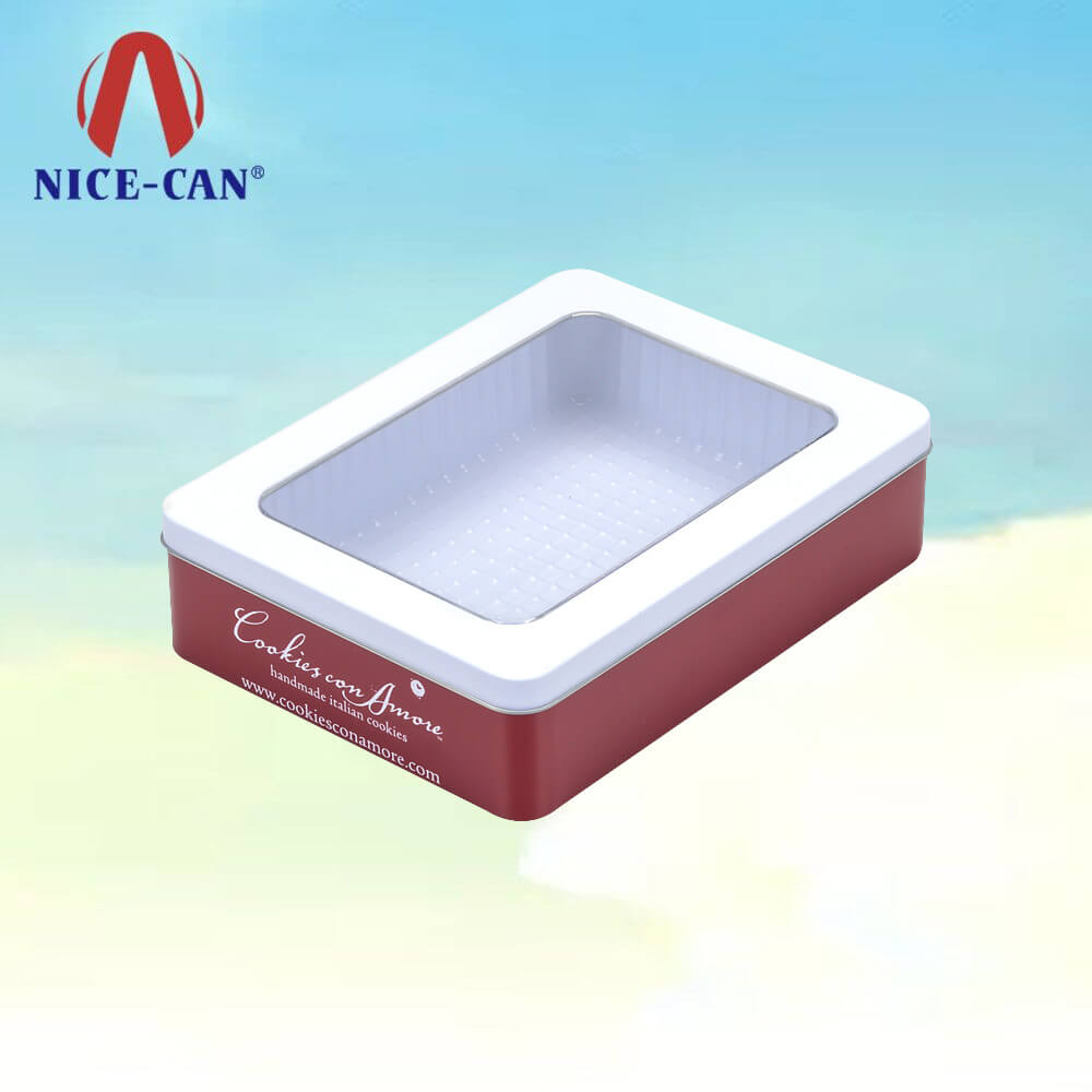 Cosmetic Packaging Metal Hineged Tin Box With Clear PVC Window On Lid