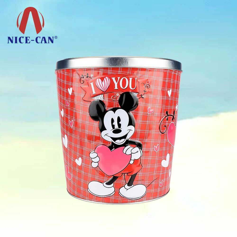 Custom empty popcorn tins gift popcorn cans valentines gift tin box packaging