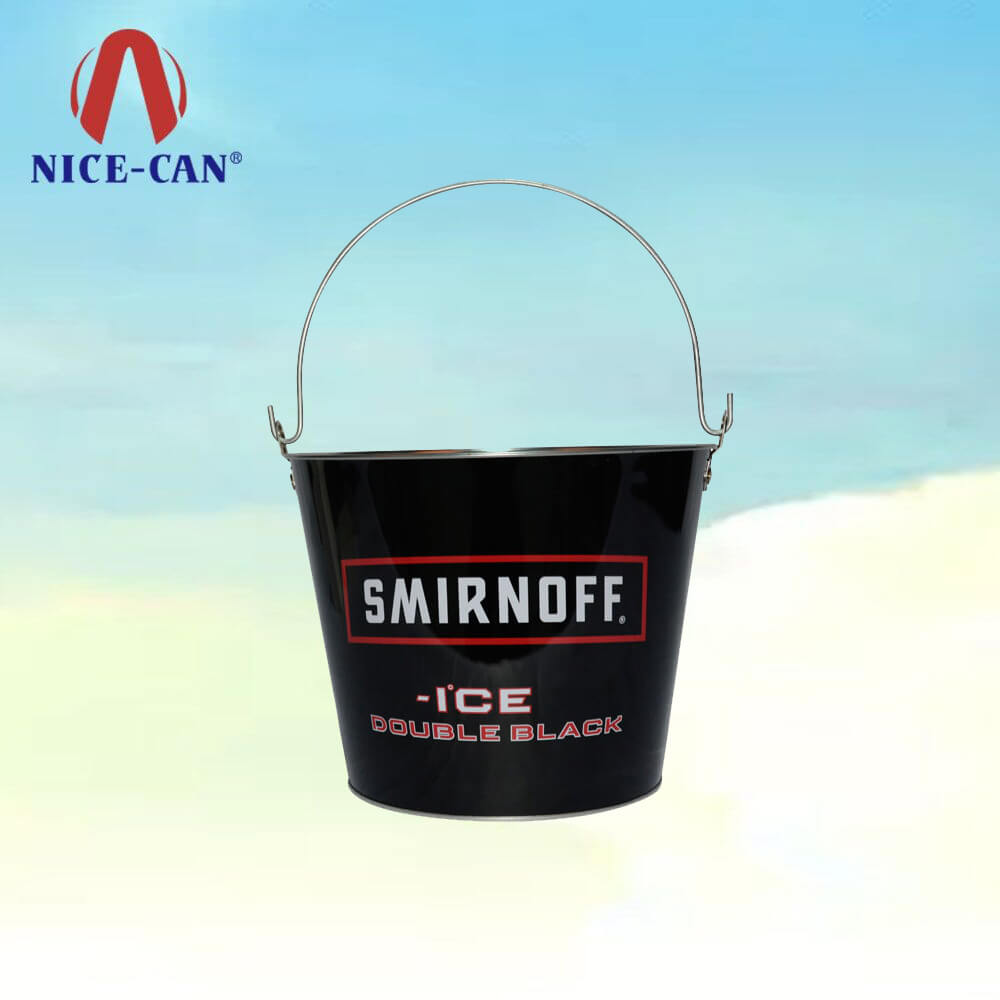 Metal Tin Boxes Beer Popcorn Ice Bucket with Handle for Bar Party