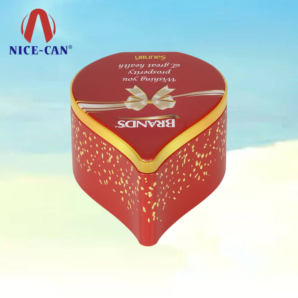 Wholesale Heart Shape Metal Chocolate Box Gift Tin Box for Valentine's Day