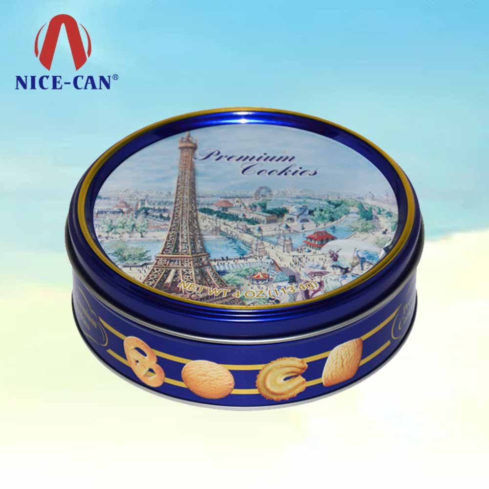 Blue round butter danish cookies tin wholesale metal box tin cookie box