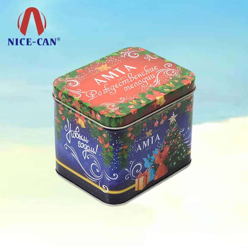 Hot sale Christmas chocolate storage biscuit tin Christmas gift bule cookie tins