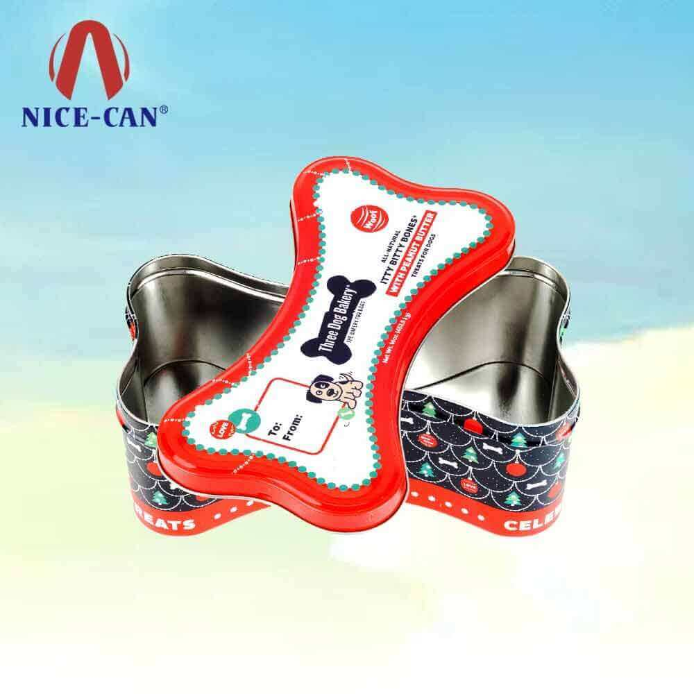 Hot sale dog bone shaped tin box pet dog food storage candy tin boxes